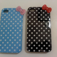 """IPHONE 4 polka dot phone silicone cases """"hello kitty inspired"""""""