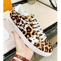 LV Louis Vuitton Fashion New Leopard Print Women Low Help High Quality Leisure Shoes