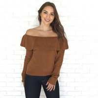 Hand Me Down Off Shoulder Sweater in Caramel