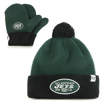 New York Jets - Logo Bam Bam Toddler Pom Pom Beanie and Mitten Set