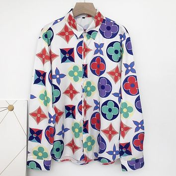 Louis Vuitton new full-print tops fashion personality men and women street style button shirts