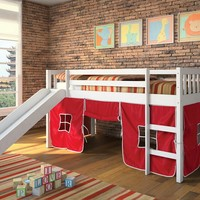 Wasila collection white finish wood kids loft bed with slide and red or blue tent covering bottom curtains