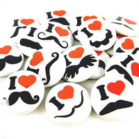 Mustache Love and Hearts in White (Set of 18) - Pinback Buttons - 1 inch 25 mm - Mustache Buttons