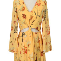 Yellow Floral Print V-neck Cut Out Long Sleeve Romper
