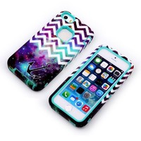 iPhone 5C Case ,OMIU(TM)Hybrid High Impact 3-Piece Fashion Waves Anchor Pattern Hard Back Case Cover For Apple iPhone 5C(Green+White),Sent Screen Protector+Stylus+Cleaning Cloth