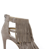 Steve Madden Fringly Taupe Suede Leather Dress Sandals