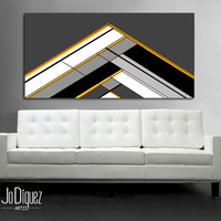 """Customizable! Original abstract painting. 24x48"""" Geometric canvas art with gray and yellow. Modern wall art. Large painting."""