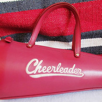 LABOR DAY SALE 20% Off Vintage Red Leather Cheerleader Purse