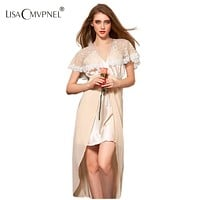 Lisacmvpnel New Arrive Hight Quality Rayon Women Sexy V-Neck Nightgown Long Section Lace Elegant Sleepwear Free Shipping