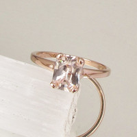 Peach Champagne Sapphire Engagement Ring Radiant Cut 1.67ct in 14k Rose Gold Solitaire Ring Weddings Anniversary