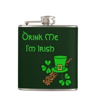 Funny Green Irish Drink Me Flask