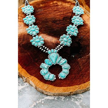 Navajo Pearl Turquoise Squash Blossom Necklace