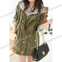 Casual Hooded Slimming Solid Color Splicing Design Beam Waist Long Sleeve Cotton Blend Coat For Women