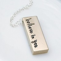 Peronalized Gold Raw Brass Bar Custom Initial Name Text Quote Rustic Necklace
