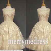lace Applique Wide Straps Ball Gown Celebrity Dress,Tea Length Tulle Formal Evening Party Prom Dress New Homecoming Dress