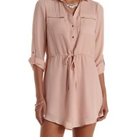 Pale Peach Zipper Pocket Chiffon Shirt Dress by Charlotte Russe