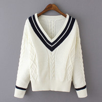 White V-Neck Cable Knit Crop Sweater