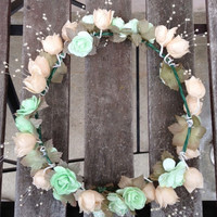 Peach and Mint Flower Crown