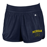Ladies Pants & Shorts Champion University of Michigan Ladies Navy Interval Mesh Shorts