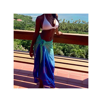 Beach Glam Blue And Green Ombre Sarong - Beach Glam