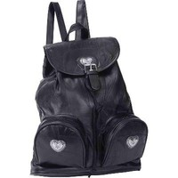 NEW GENUINE LEATHER BACKPACK PURSE BLACK