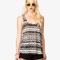FOREVER 21 Tribal-Inspired Burnout Tank Black/Grey Large