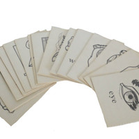 Vintage 1960s Flash Cards Vocabulary - Set of 25 - Picture On One Side and The Corresponding Word On The Other Side