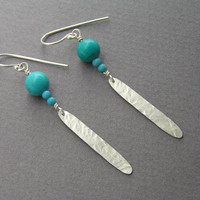 Silver Feather and Turquoise Dangle Earrings - Long Leaf Earrings - Sterling Silver Jewelry