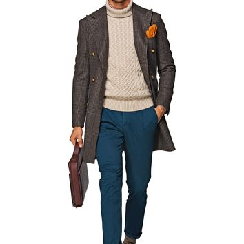 Brown Double Breasted Coat J284i   Suitsupply Online Store
