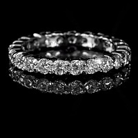 Krista Eternity Round Cut Stackable Ring   2ct   Sterling Silver