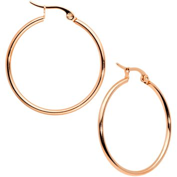 30mm Rose Gold Tone PVD Stainless Steel Hoop Earrings