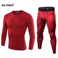 #1920 Men Boys Sports Running Compression Gym Fitness Base Layers Under Shirts Thermal Tops Skins Shirt Trainning Sets S-3XL