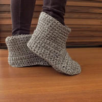 Women Crochet Slippers Wool Slippers Womens Slippers Adult Slippers Knitted Slippers Slipper Socks Knitted Socks Indoor Shoes Brown Slippers