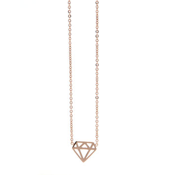 Dear Deer Rose Tone Stainless Steel Diamond Cut Pendant Necklace