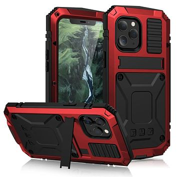 Armor Protective Shockproof Tempered Glass Metal Cover Case for iPhone