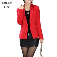 Red Coat Solid Color Women's Jacket 2016 Latest Autumn Long Sleeve Slim Blazer With Button Plus Size Blazer Women