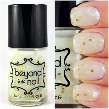 Blessed - White Crelly Nail Polish with Gold and Mint Glitter