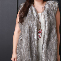 Multicolor Faux Fur Knit Back Sleeveless Vest