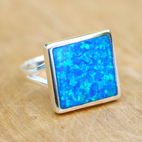 Square Ring,Statement ring,Opal Ring,Geode ring,October Birthstone,Birthstone Ring,gemstone ring,Agate ring,Mother Ring