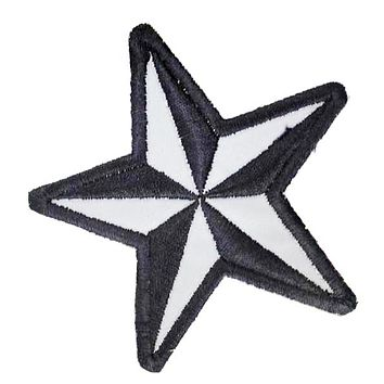 Motorcycle Small Patch Sew on Reflective Star Black and Grey for Biker Vest Jacket