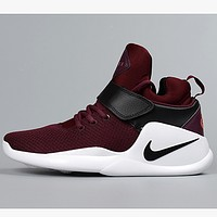 NIKE autumn and winter breathable mesh men's casual shoes Wine red