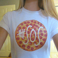 5SOS Five Seconds Of Summer Logo Circle Pepperoni Cheese Pizza White Tee Short Sleeved Unisex Adult Size Small, Medium OR Large