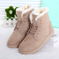 Fashion Winter Women Flat Lace-Up Warm Snow Ankle Boots [8295301383]
