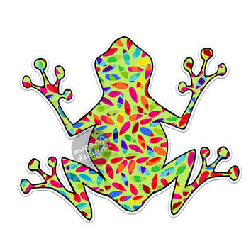 Hippie Tree Frog Decal - Colorful Car Decal Vinyl Bumper Sticker Hippie Boho Laptop Decal Green Pink Blue Yellow Leaves Cute Car Decal