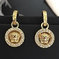 VERSACE Stylish Women Shiny Diamond Pendant Earrings Accessories