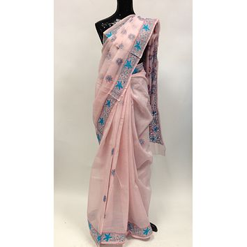 Cotton Lucknowi Saree - Light Pink