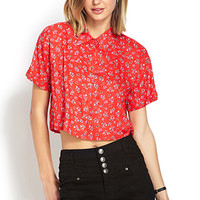 FOREVER 21 Cropped Floral Shirt
