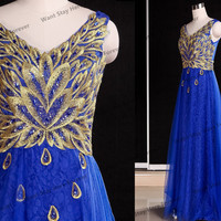 Gorgeous Golden and Royal Blue Embriodery Lace Beading Straps V Neck A-line Floor Length Long Evening Gown,evening dress,party dress