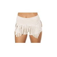 Sexy Suede Shorts with Fringe Detail