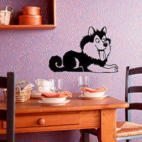 Wall Vinyl Decals Sticker Nursery Room Cartoon Animals Dog Husky Puppy KJ2569